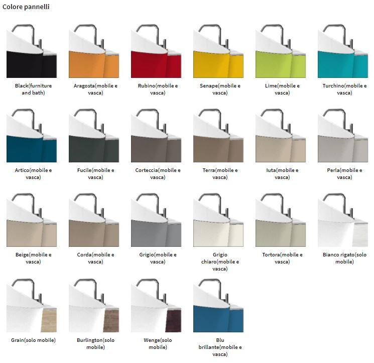 Novellini, colorazioni disponibili per i pannelli della vasca Infinitive