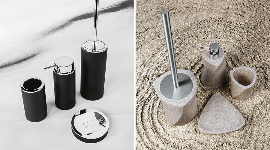 Accessori per il bagno serie Cool, Colombo. Finiture disponibili: nero, beige (effetto sabbia), bianco, argento.
