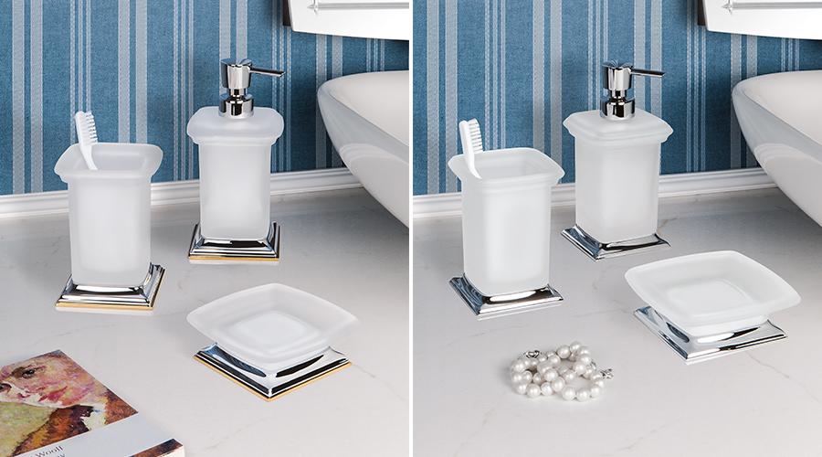 Accessori per il bagno serie Portofino, Colombo. Finitura cromo, cromo e oro, complemento in vetro acidato naturale.