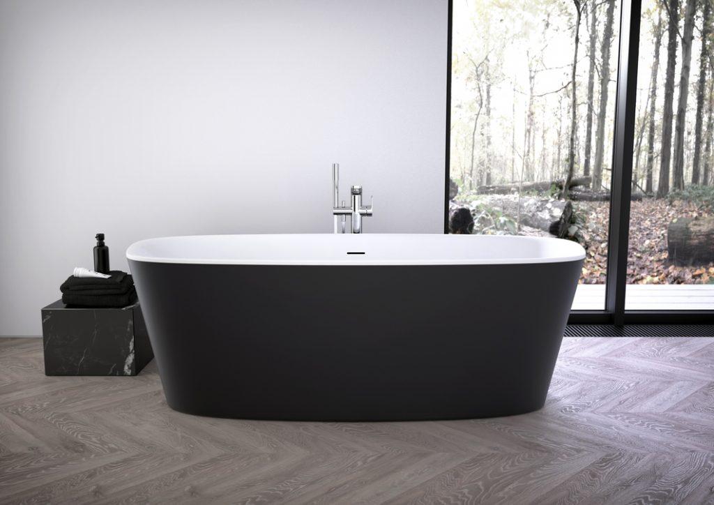 Ideal Standard, vasca centro stanza freestanding, serie Dea nero opaco