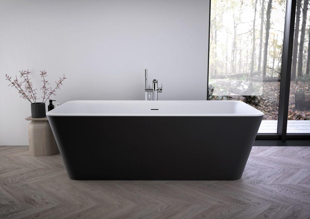 Vasca da bagno Ideal Standard vasca centro stanza freestanding serie Tonic II nero opaco