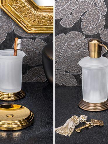 Hermitage, Colombo. Finiture disponibili: cromo, HPS gold (oro), ottone antico, complemento in vetro acidato naturale.